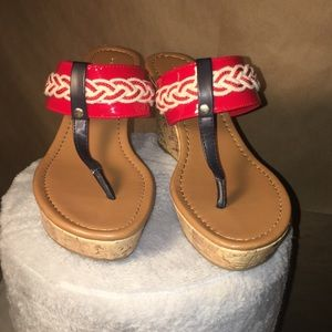 Tommy Hilfiger 7M Red Tan Sandals Wedges